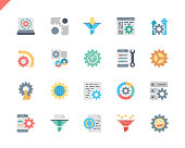 Simple Set Data Processing Flat Icons for Website and Mobile Apps.