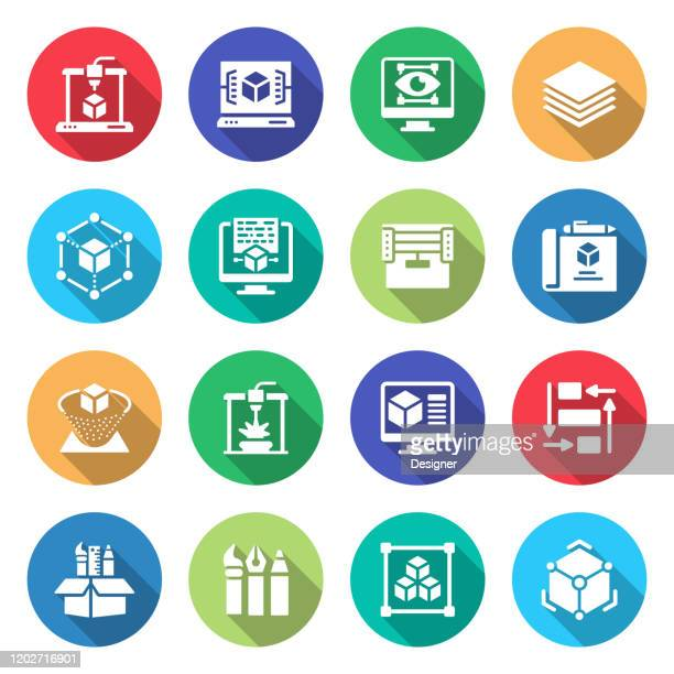 simple set of 3d printing technology related vector flat icons. symbol collection - machine learning stock illustrations