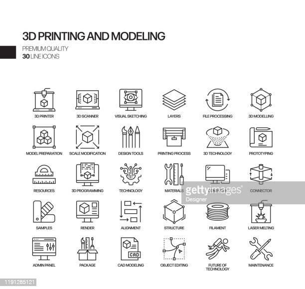 einfache satz von 3d-druck-technologie verwandte vektor linie icons. umrisssymbol-auflistung - geschichtet stock-grafiken, -clipart, -cartoons und -symbole