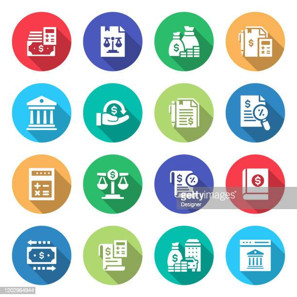simple set of accounting related vector flat icons. symbol collection. - accountancy stock illustrations