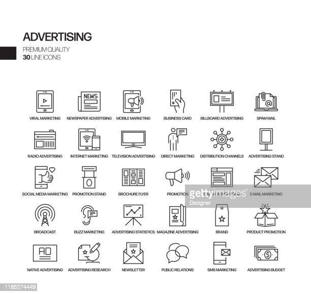 einfache satz von werbung und promotion verwandte vektor linie icons. gliederungssymbolsammlung. - werbung stock-grafiken, -clipart, -cartoons und -symbole