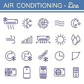 Simple set of air conditioning vector icons for your design.