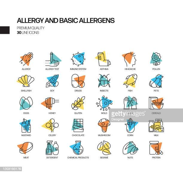 simple set of allergy and basic allergens related spotlight vector line icons. outline symbol collection - asthmatic stock illustrations