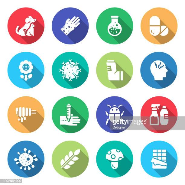 simple set of allergy and basic allergens related vector flat icons. symbol collection - asthmatic stock illustrations
