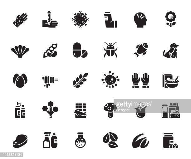 simple set of allergy and basic allergens related vector icons. symbol collection - asthmatic stock illustrations