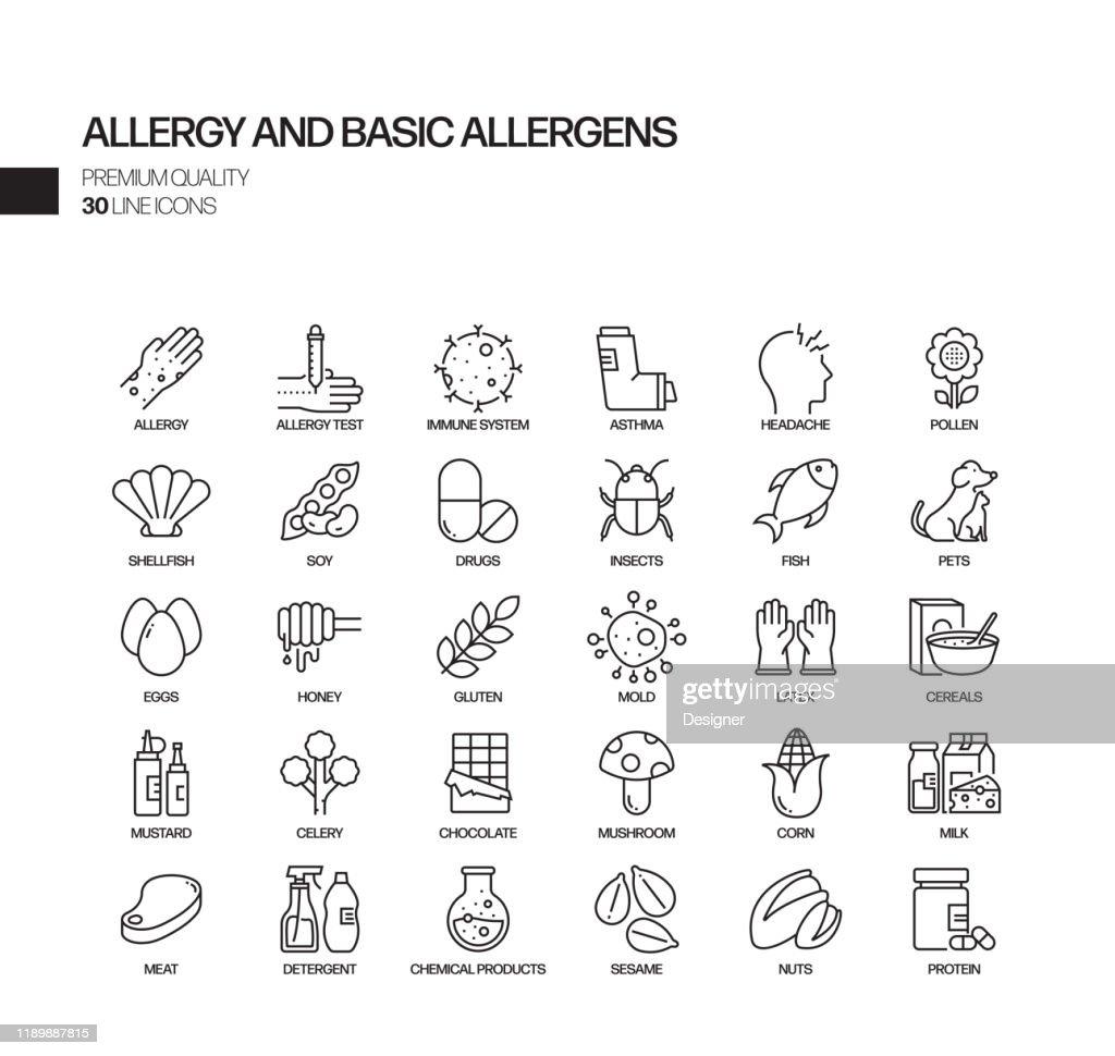 アレルギーと基本的なアレルゲン関連ベクトルラインアイコンのシンプルなセット。アウトライン記号コレクション : ストックイラストレーション