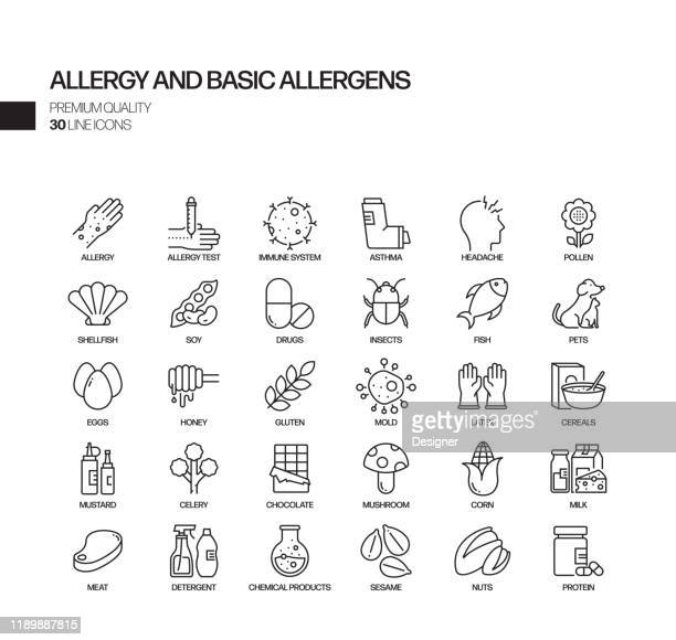 simple set of allergy and basic allergens related vector line icons. outline symbol collection - diarrhea stock illustrations