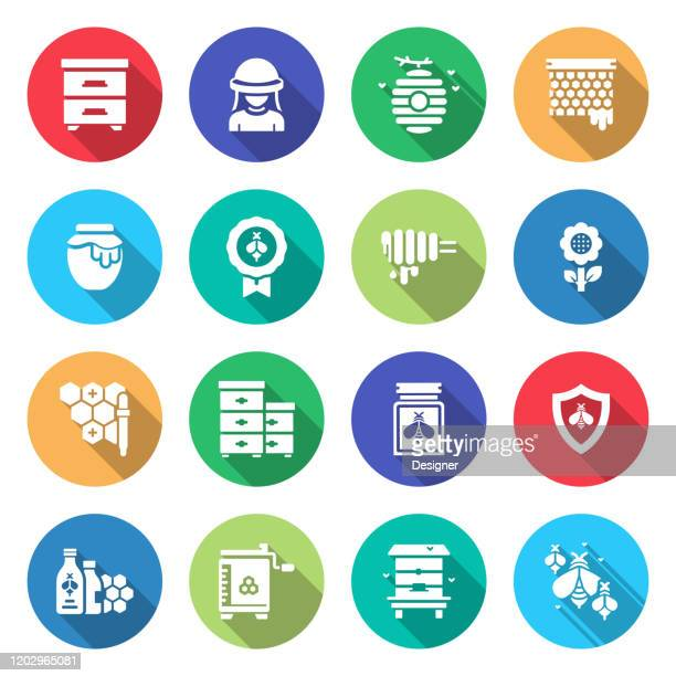 simple set of apiary related vector flat icons. symbol collection. - worker bee stock illustrations