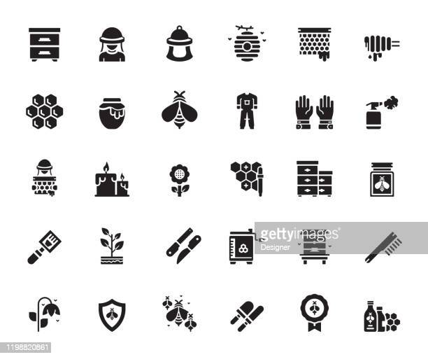 simple set of apiary related vector icons. symbol collection. - worker bee stock illustrations