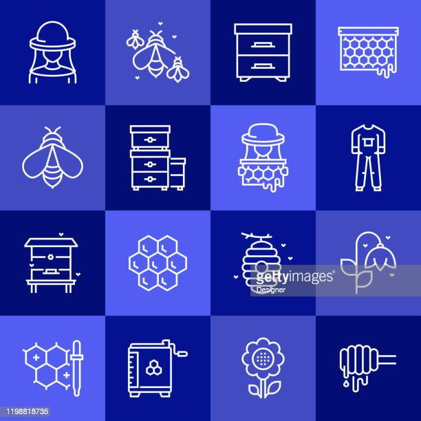 illustrations, cliparts, dessins animés et icônes de ensemble simple d'icônes de ligne vectorielle connexes apiaires. collection de symboles de contour. - ruche