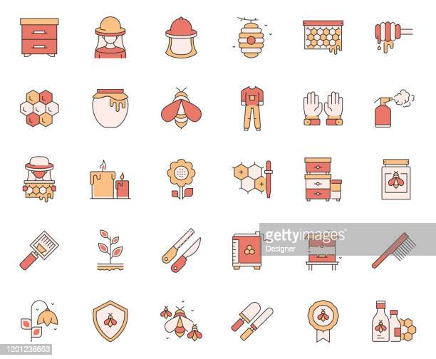 simple set of apiary related vector line icons. outline symbol collection. - worker bee stock illustrations