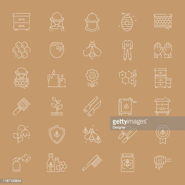 simple set of apiary related vector thin line icons. outline symbol collection. - worker bee stock illustrations