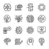Simple set of artificial intelligence related line icons contains such icons as droid, eye, chip, brain. Editable Stroke