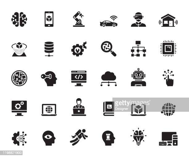 illustrazioni stock, clip art, cartoni animati e icone di tendenza di simple set of artificial intelligence related vector icons. symbol collection. - realtà virtuale