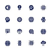Simple Set of Artificial Intelligence Related Vector Line Icons. EPS 10