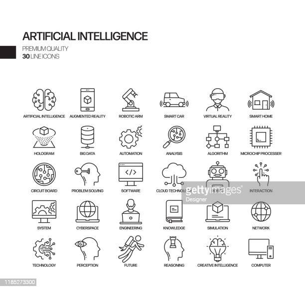 illustrazioni stock, clip art, cartoni animati e icone di tendenza di simple set of artificial intelligence related vector line icons. outline symbol collection. - realtà virtuale