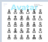 Simple Set of Avatar and People Vector Icons. Editable Stroke. 48x48 Pixel Perfect