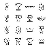 Simple set of award related outline icons.