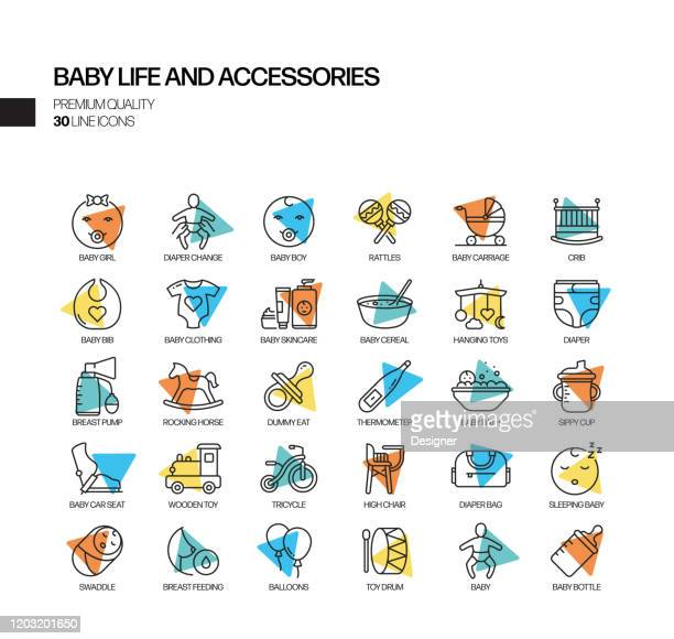 simple set of baby life and accessories related spotlight vector line icons. outline symbol collection - child care stock illustrations