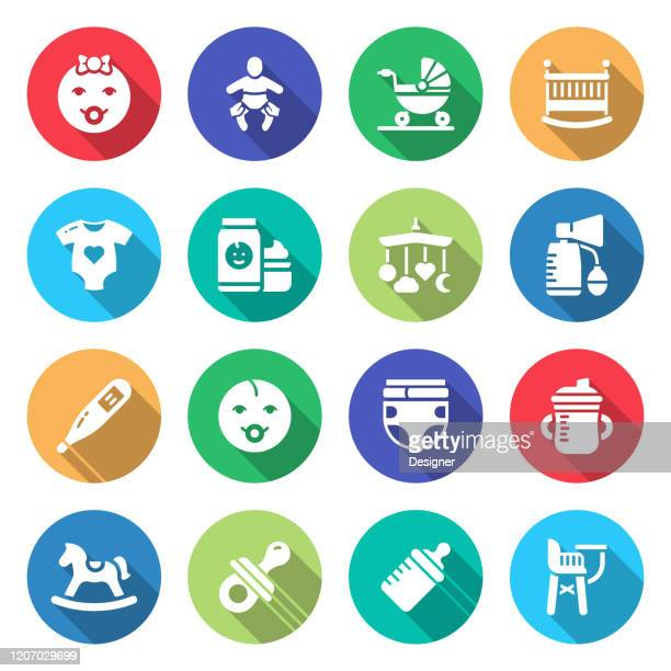 simple set of baby life and accessories related vector flat icons. symbol collection - child care stock illustrations