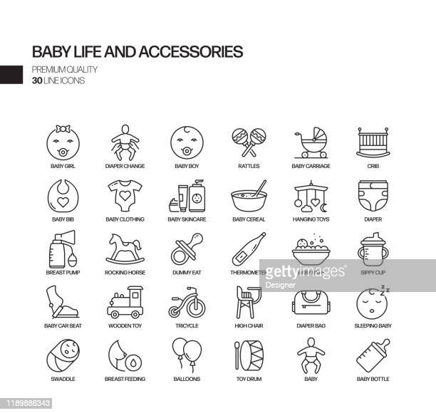 simple set of baby life and accessories related vector line icons. outline symbol collection - baby carriage stock illustrations
