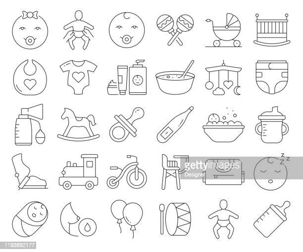 simple set of baby life and accessories related vector line icons. outline symbol collection. editable stroke. - child care stock illustrations
