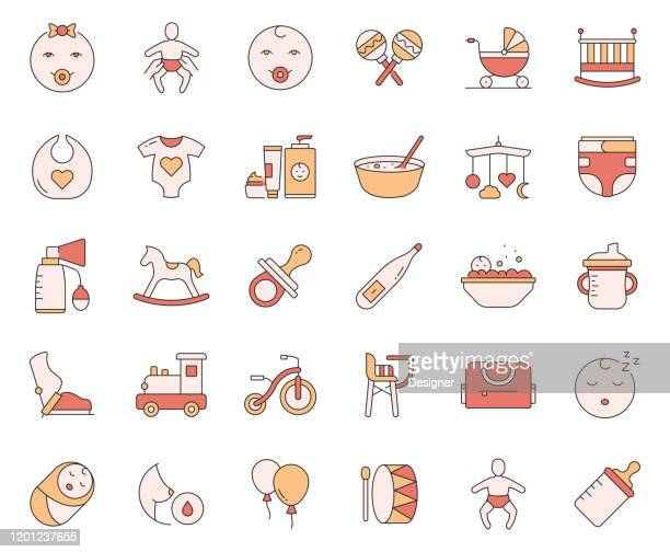 simple set of baby life and accessories related vector line icons. outline symbol collection - child care stock illustrations