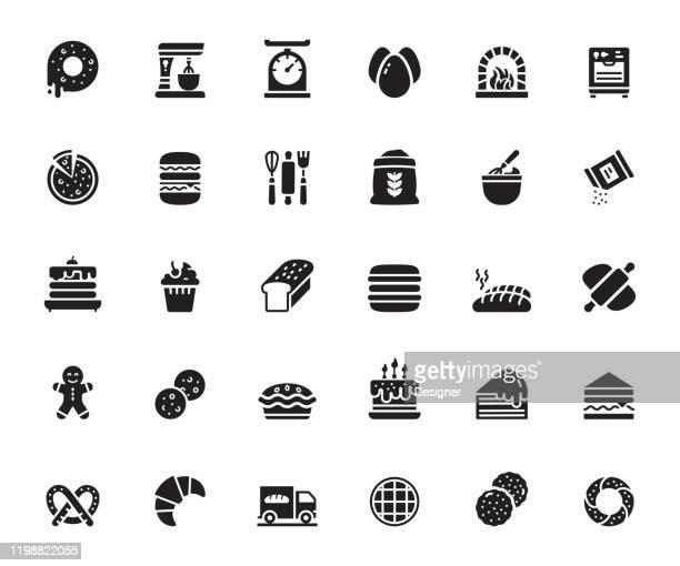 stockillustraties, clipart, cartoons en iconen met eenvoudige set van bakkerij en patisserie gerelateerde vector iconen. symbool verzameling. - monochroom