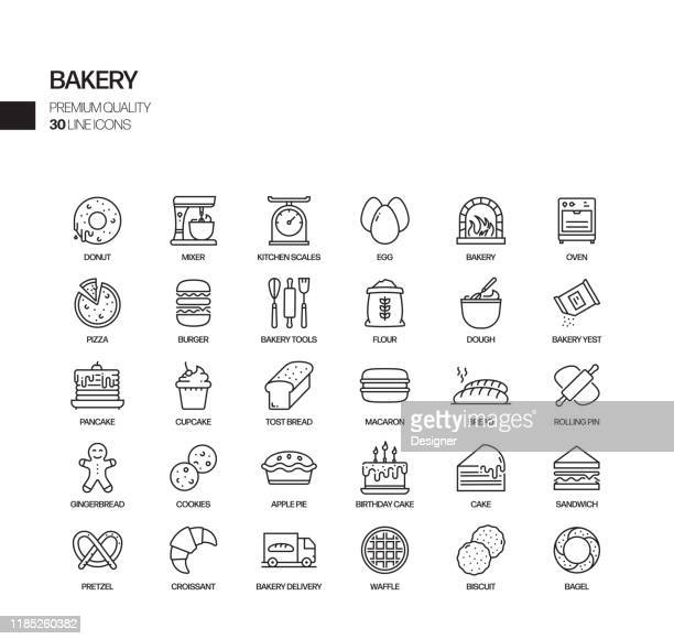 simple set of bakery and patisserie related vector line icons. outline symbol collection. - food state stock illustrations