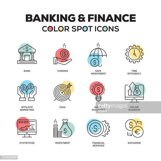 simple set of banking and finance color vector line icons - accountancy stock illustrations, clip art, cartoons, & icons