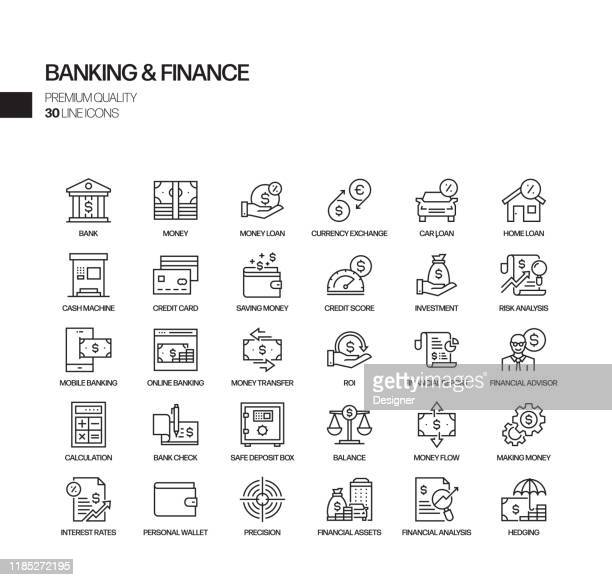 simple set of banking and finance related vector line icons. outline symbol collection. - bank statement stock illustrations