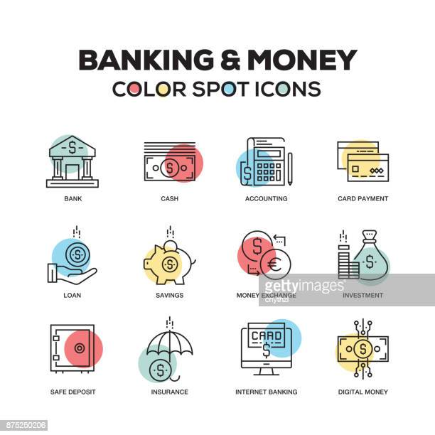 Simple Set of Banking and Money Color Vector Line Icons