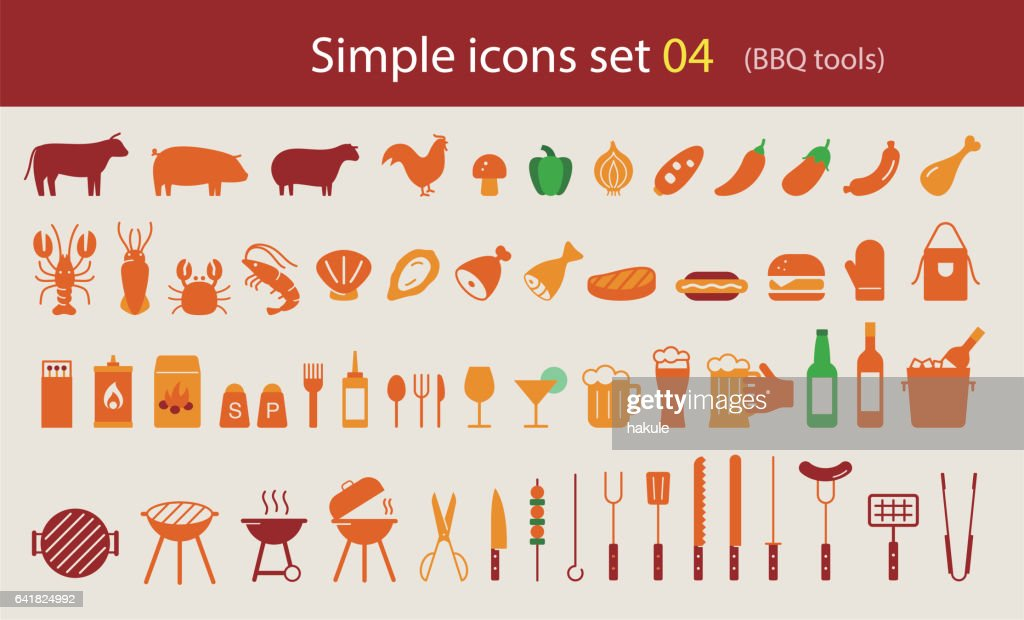 Simple Set of Barbecue Related Vector Flat Icons