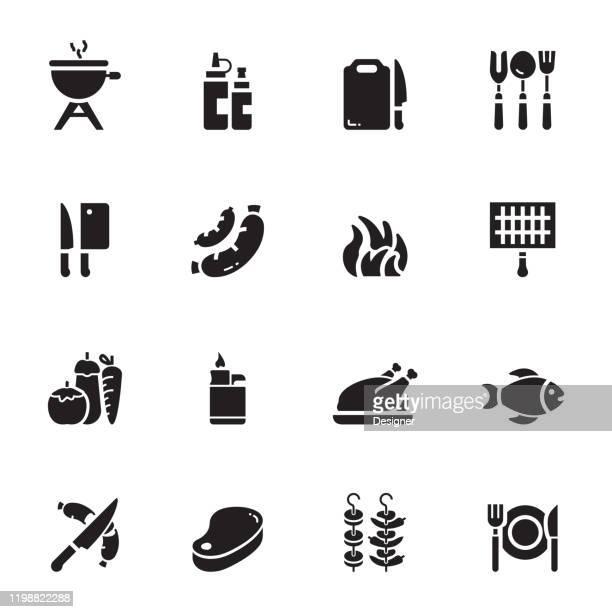 バーベキュー関連のベクトルアイコンのシンプルなセット。シンボル コレクション。 - ステーキハウス点のイラスト素材/クリップアート素材/マンガ素材/アイコン素材