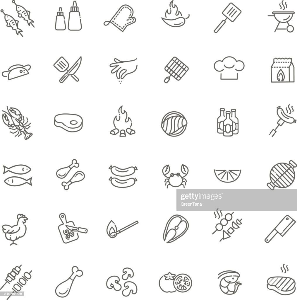 Simple Set of Barbecue Related Vector Line Icons.