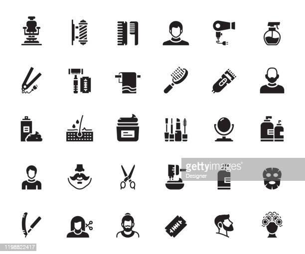 illustrations, cliparts, dessins animés et icônes de ensemble simple d'icônes vectorielles connexes de barber shop. collection de symboles. - ciseaux de coiffeur