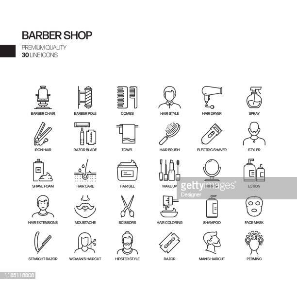 einfache set von barber shop verwandte vektor linie icons. gliederungssymbolsammlung. - öffentlicher auftritt stock-grafiken, -clipart, -cartoons und -symbole