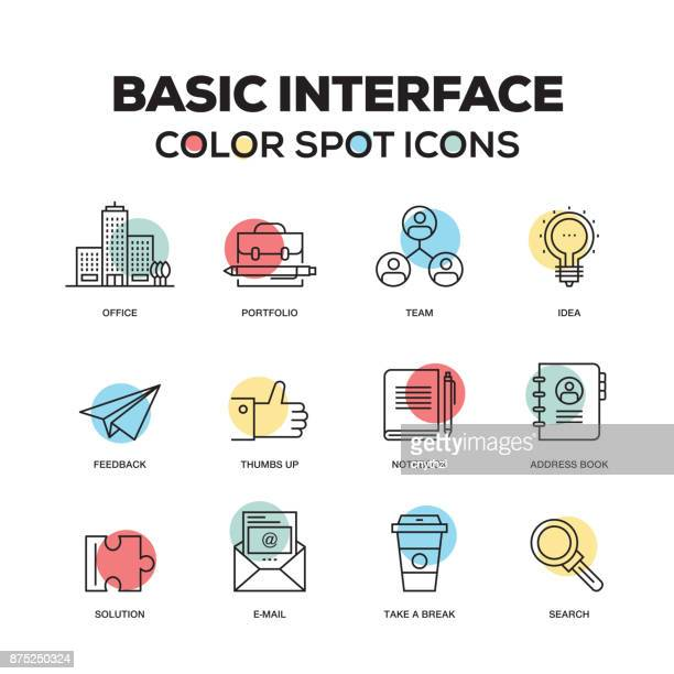 Simple Set of Basic Interface Color Vector Line Icons
