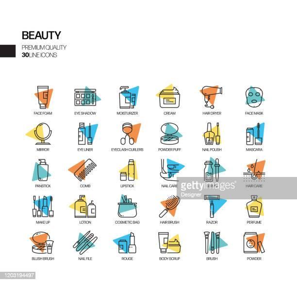 illustrations, cliparts, dessins animés et icônes de simple set of beauty related spotlight vector line icônes. collection de symboles de contour. - chirurgie esthetique