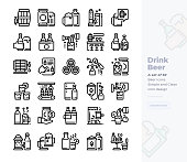 Simple Set of Beer.Vector  Icons. Editable Stroke. 48x48 Pixel Perfect