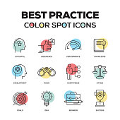 Simple Set of Best Practice Color Vector Line Icons