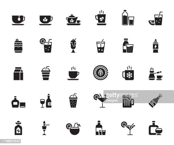 simple set of beverages related vector icons. symbol collection. - lemonade stock illustrations