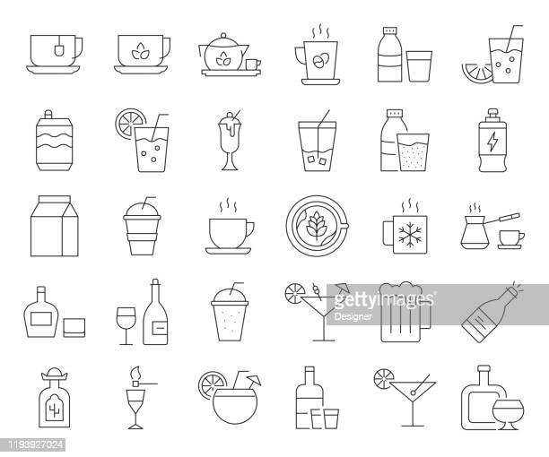 simple set of beverages related vector line icons. outline symbol collection. editable stroke - lemonade stock illustrations