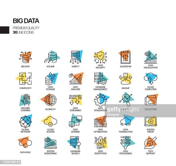 illustrazioni stock, clip art, cartoni animati e icone di tendenza di semplice set di icone della linea vettoriale correlate ai big data. insieme outline symbol. - server di rete