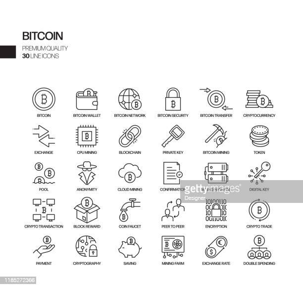 simple set of bitcoin related vector line icons. outline symbol collection. - cryptocurrency stock illustrations