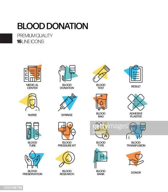 献血関連スポットライトベクトル線アイコンの簡単なセット。アウトラインシンボルコレクション。 - 献血点のイラスト素材/クリップアート素材/マンガ素材/アイコン素材