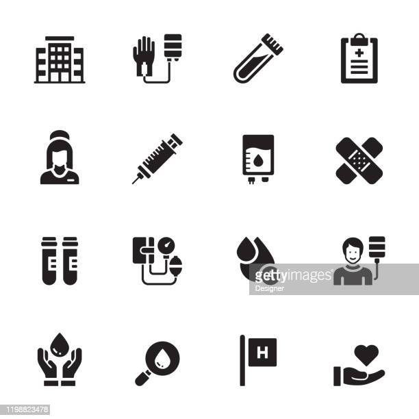 simple set of blood donation related vector icons. symbol collection. - medical sample stock illustrations