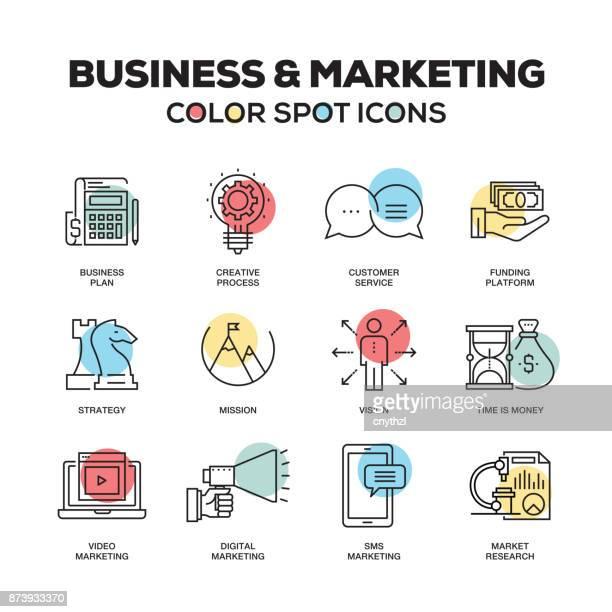 ilustrações, clipart, desenhos animados e ícones de conjunto simples de negócios e marketing cor vetor linha ícones - plano descrição geral
