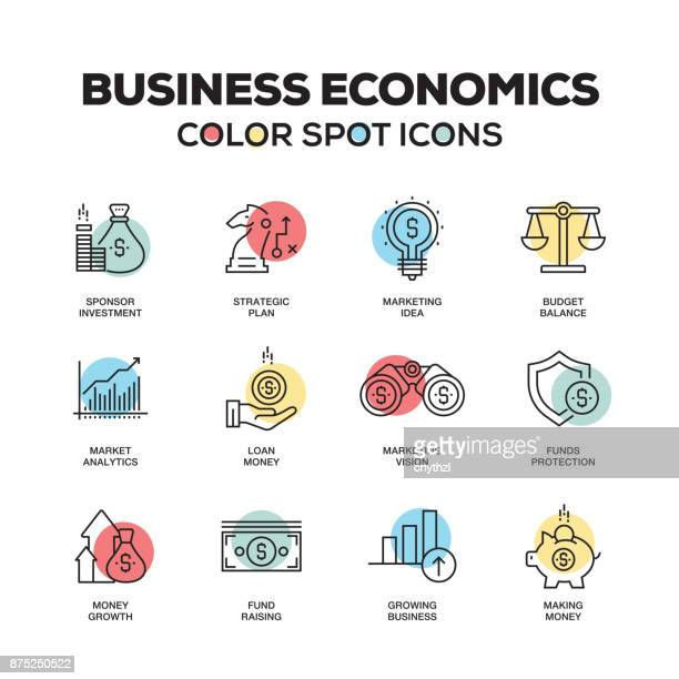 Simple Set of Business Economics Color Vector Line Icons