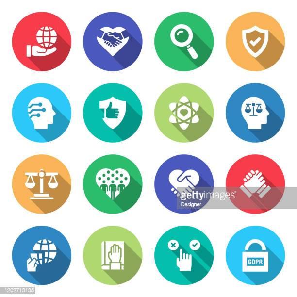 ビジネス倫理関連ベクトルフラットアイコンのシンプルなセット。シンボルコレクション - 服従点のイラスト素材/クリップアート素材/マンガ素材/アイコン素材